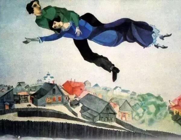 夏加尔作品《小镇之上》(1918) 当时,夏加尔和俄罗斯互不相容,艺术家图片