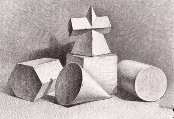 几何体素描看图不会画,点点出详细教程教你画!