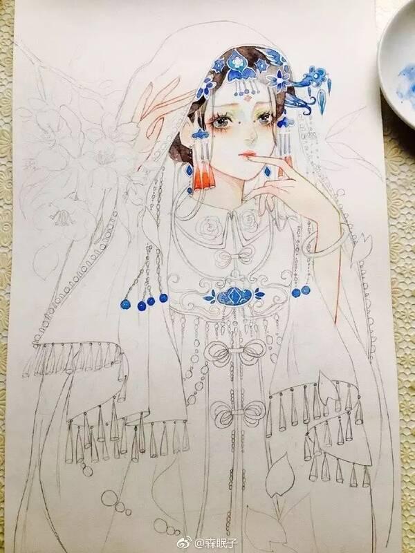 干货丨超详细古风美女水彩手绘教程