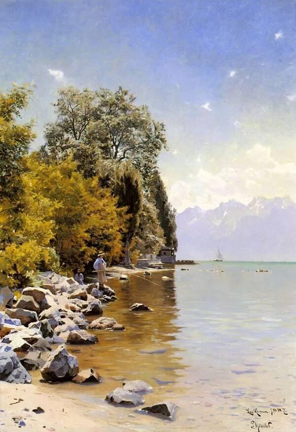 丹麦浪漫主义画家 蒙森德 的田园风景油画