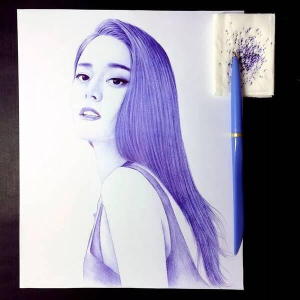 手绘:她用圆珠笔画出白浅,夜华,吴亦凡.简直太太太