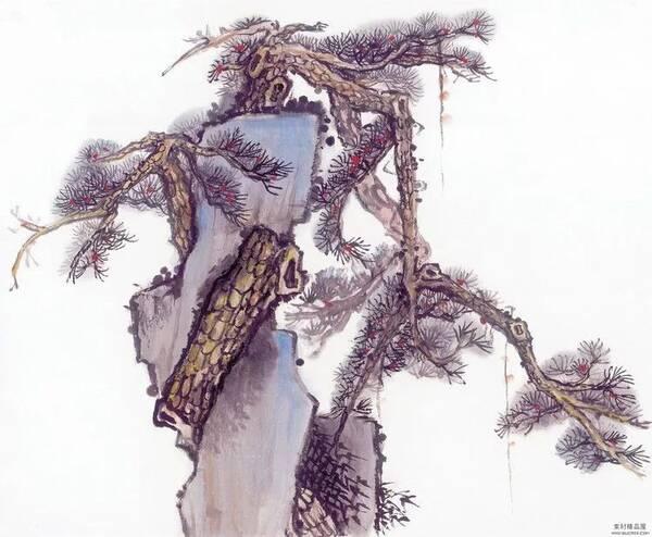 国画水墨画临摹素材——树与奇石