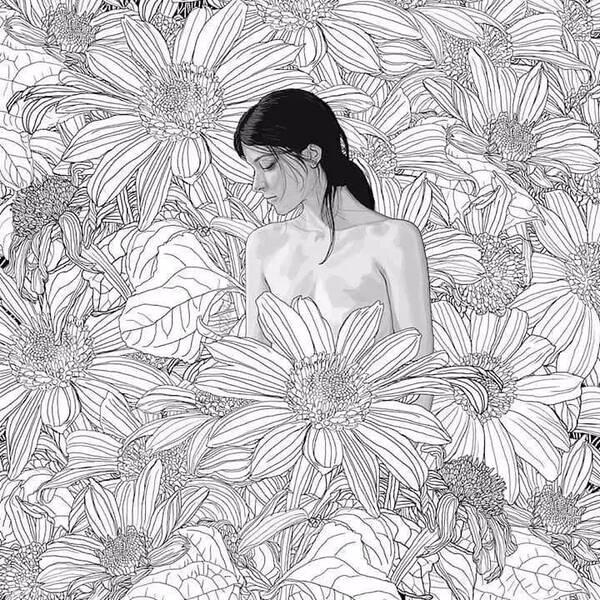 铅笔画     绽放在花丛中的绝色美女