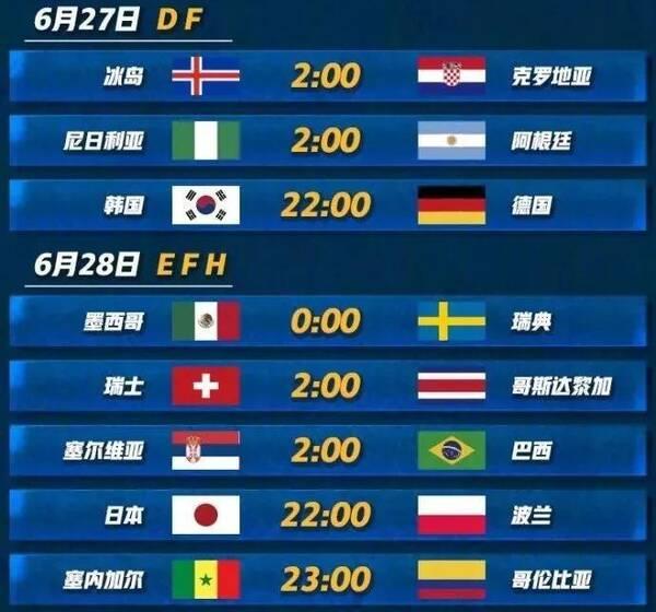 2018俄罗斯世界杯100天倒计时:小组赛赛程一
