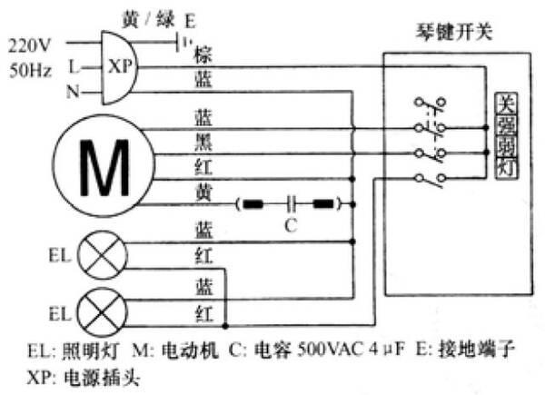 带电子鼻机械控制式吸油烟机 图4-6是金龙cptsa型吸油烟机接线图,该机