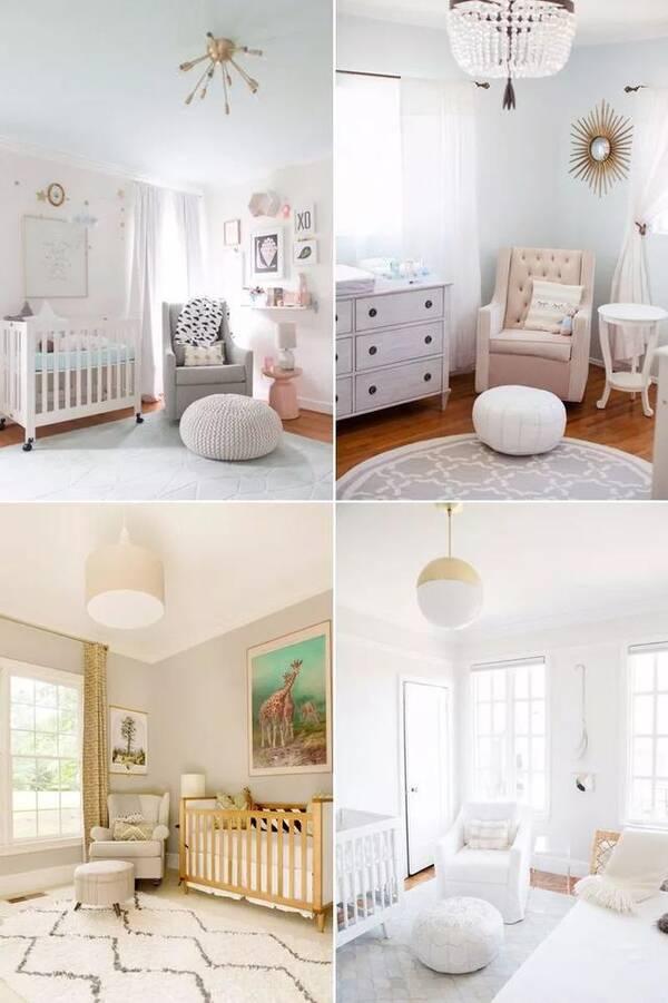无论是墙纸还是软装,选择的色调都较为清新明朗,温馨时尚。并没有将房间限制在某一个特定的风格,这样宝宝长大后也可以根据自己喜欢添加装饰物品。 甜蜜女孩风婴儿房 不论是家具还是装饰,女宝宝的婴儿房都充满了粉嫩的元素。房间以淡粉、淡蓝这样的暖色调为主,在加上毛绒绒的软装,看起来格外的温馨!  男孩风婴儿房