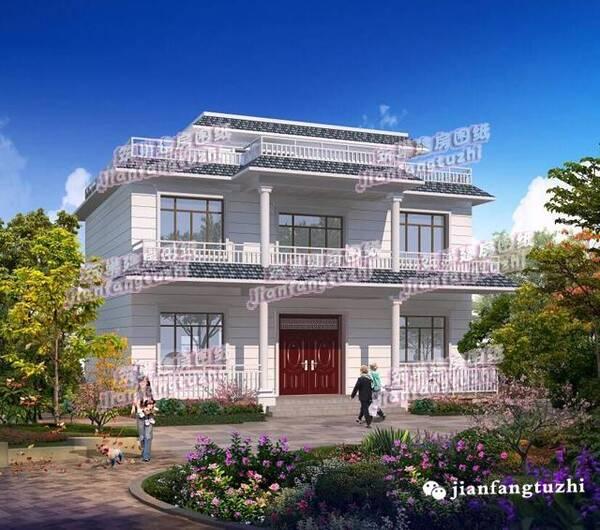 5款现代农村自建房别墅效果图施工图,平屋顶设计,简约实用!