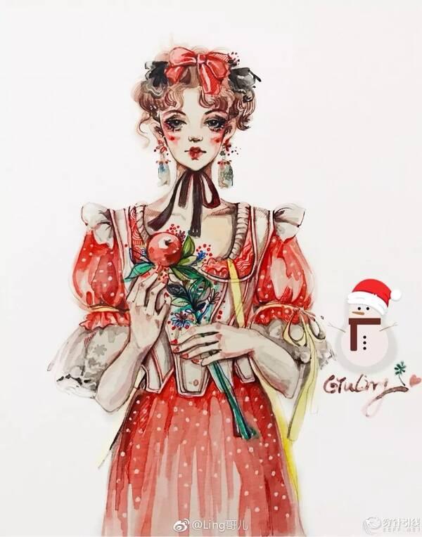 时装手绘 | 水彩时装画,圣诞装服装效果图