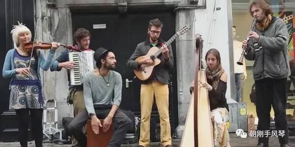 手风琴、竖琴、小提琴、单簧管、吉他演奏《冰与火之歌》爱尔兰街头快闪
