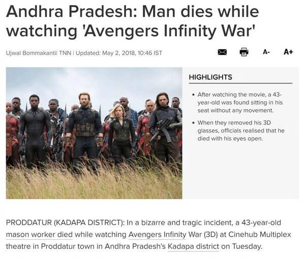 印度一男子看复联3时猝死,网友:看别的电影要