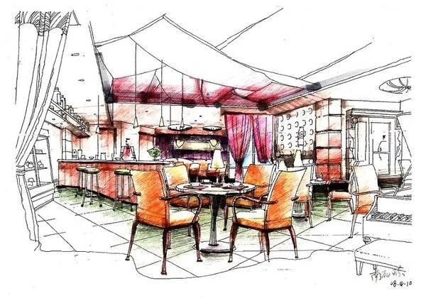 餐厅手绘设计效果图大全 宴会厅,中餐厅,西餐厅,就餐廊, 家庭餐厅