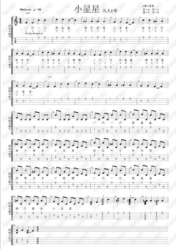 二,尤克里里四线谱(本曲为尤克里里单音练习曲之一) 三,说明: 本吉他