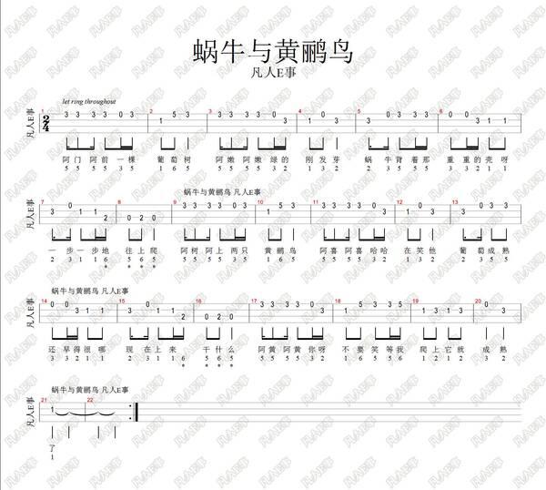 二, 尤克里里四线谱(本曲为尤克里里单音练习曲之一) 三,说明: 本吉他