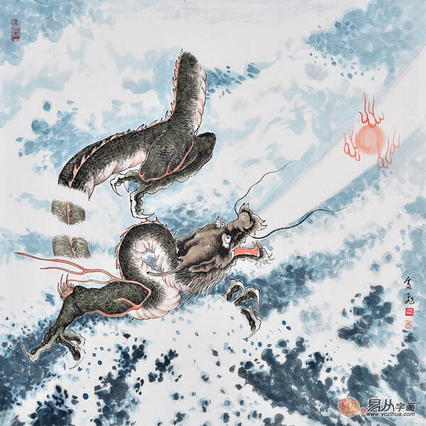 富飞四尺斗方动物画作品十二生肖系列龙《腾云驾雾》