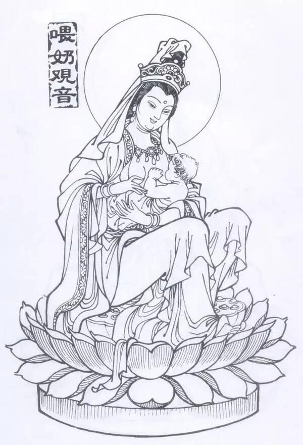 手绘-中国传统素材:佛像白描画稿