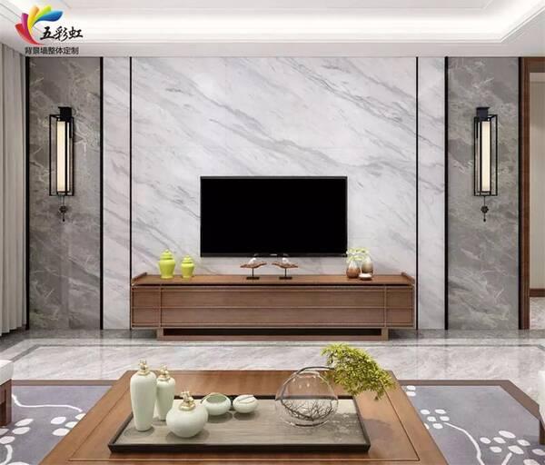 3,现代简约轻奢风格客厅电视背景墙装修效果图