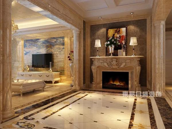 欧式风格的居室,地板以整块石材铺就,搭配富丽堂皇的墙面装饰,更显