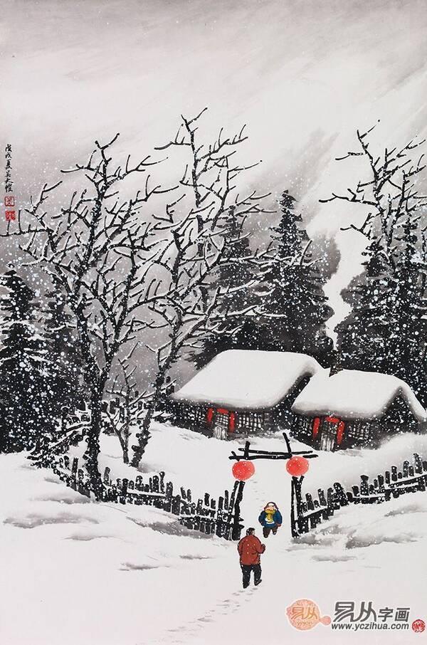 吴大恺最新力作雪景国画《雪中共子乐》图片