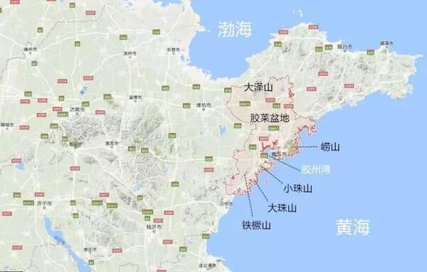 接连耸立,拱卫 胶州湾 (点击放大查看,青岛在山东半岛的位置及地形