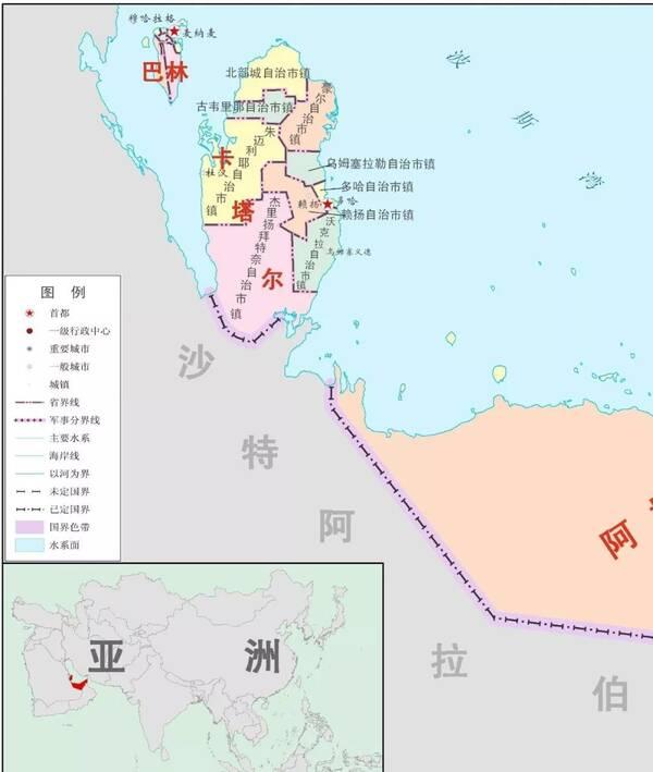 从地图上来,卡塔尔是半岛国家,东边是波斯湾,西边毗邻沙特.
