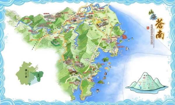 苍南县手绘旅游地图,太实用了!