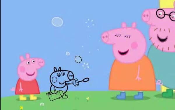 视频-手绘简笔画,小猪佩奇教乔治吹泡泡