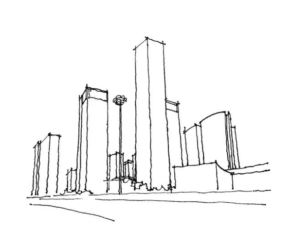 建筑手绘技能真相1:体块构图与线条提炼