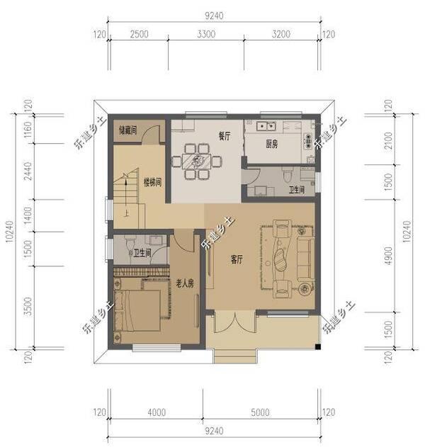 广东省清远市盘先生别墅设计展示,三层9x10米中式风格