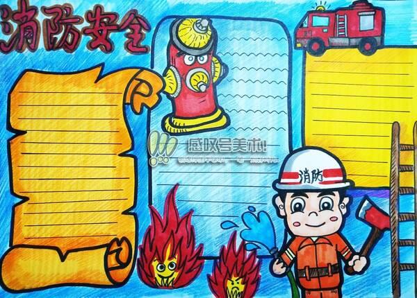 教大家如何绘画消防安全手抄报作业,喜欢记得收藏图片
