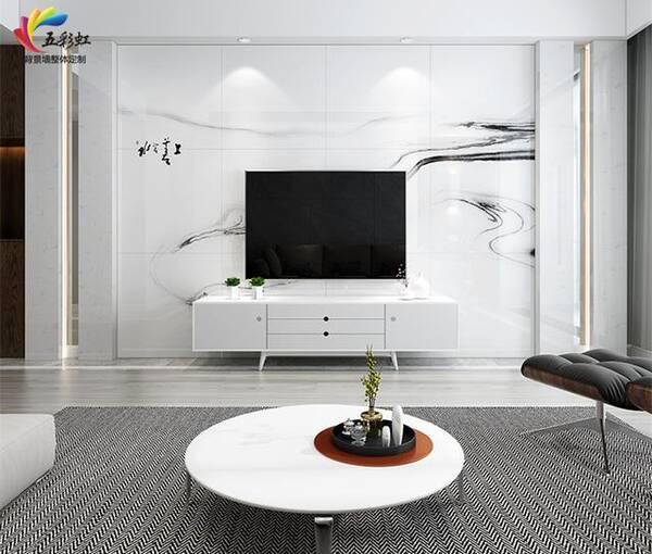 石材镶嵌金属铝材边框搭配微晶石电视背景墙效果图