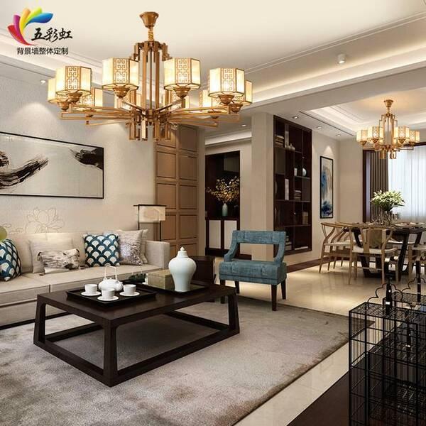 而新中式灯具的特点是和谐,灯饰产品怎样才能兼顾电视背景墙,沙发图片