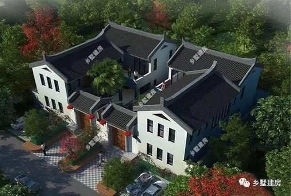 新中式四合院别墅对称设计,集居住与休闲于一体,功能