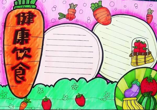 教你绘画健康饮食手抄报作业,超级简单哦,一看就学会
