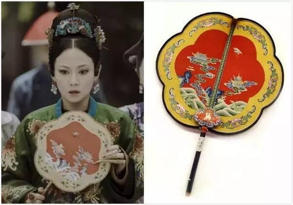 扇子与清代红色缂丝乌木雕花柄团扇对比 不仅如此,《延禧攻略》的服饰
