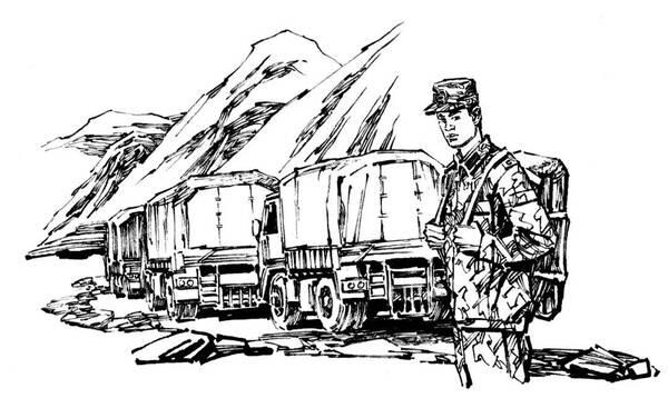 卡通军人素描矢量图