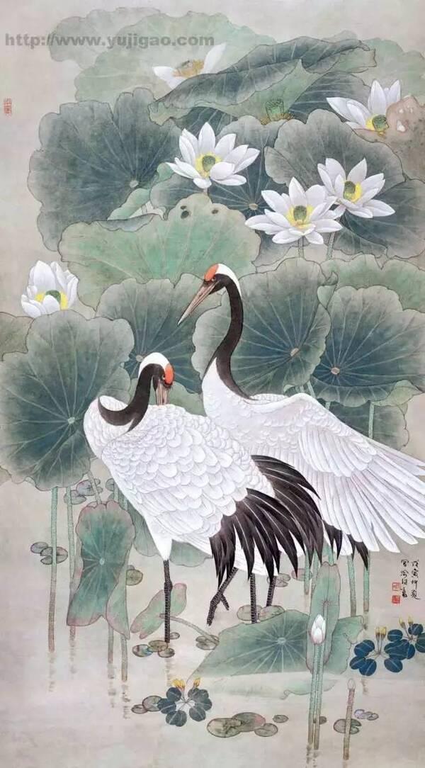 用写意画法表现丹顶鹤比使用工笔画法简单,但是在表现时要注意墨色的