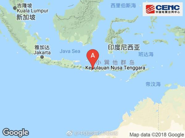 印尼松巴哇岛地区附近发生6.9级左右地震