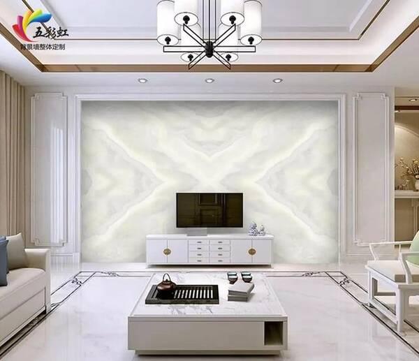最新石纹电视背景墙搭配不同边框造型,素净而优雅的家!