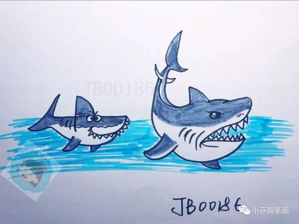 简笔画:用数字2和4画鲨鱼,超级简单哦!
