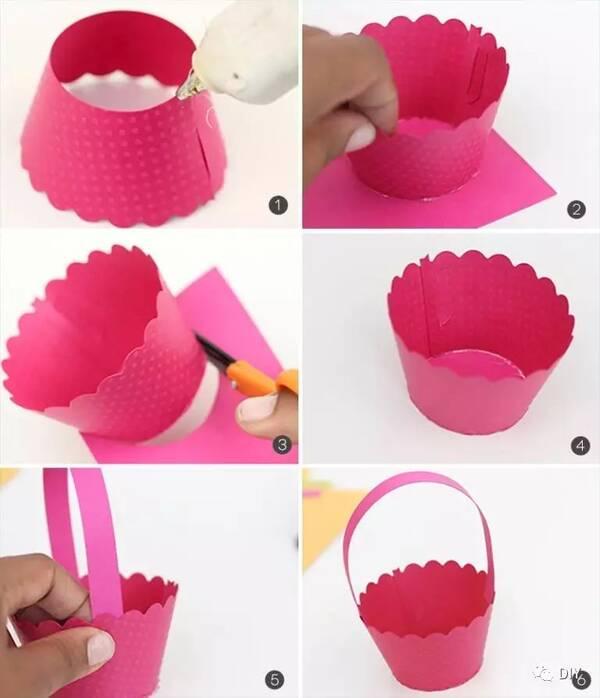 按以上步骤,用不同颜色的彩色蛋糕纸杯制作出不同颜色的礼物花篮 版权图片