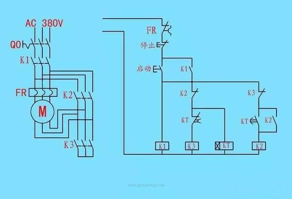 下图是时间继电器控制星三角启动的线路图,你们先看一下,以后我会