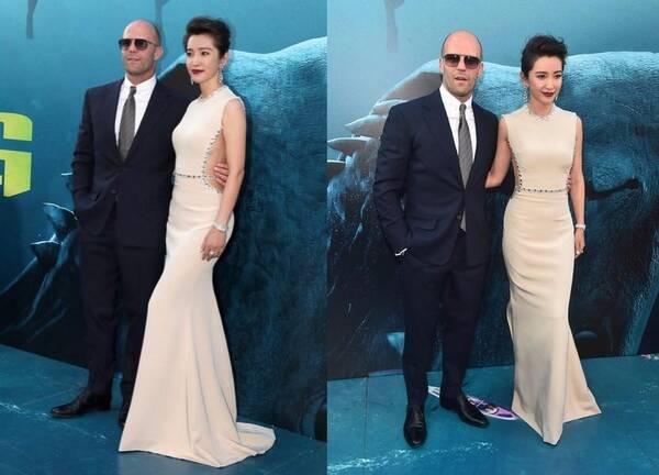 李冰冰和杰森·斯坦森夫妇亮相《巨齿鲨》首映礼,而我图片