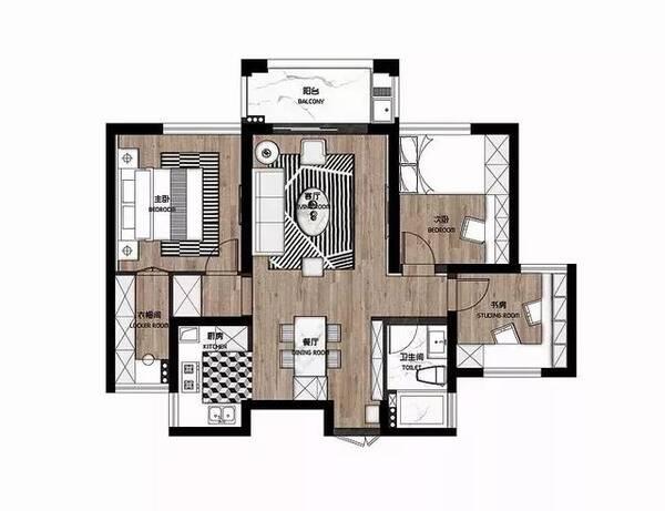 今天给大家87㎡小三房,设计师只用了黑,白,木色三种颜色,却将室内