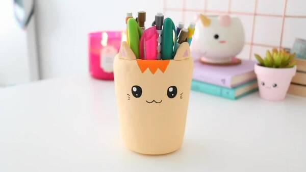 用超轻粘土做一个可爱的小猫笔筒,做法简单.手工diy
