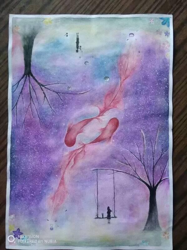 同样铅笔大致画稿after水溶性彩铅勾线,树男孩女孩碳素笔描黑,鱼图片