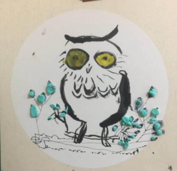 少儿创意美术《猫头鹰-水墨画》,孩子们把猫头鹰画的