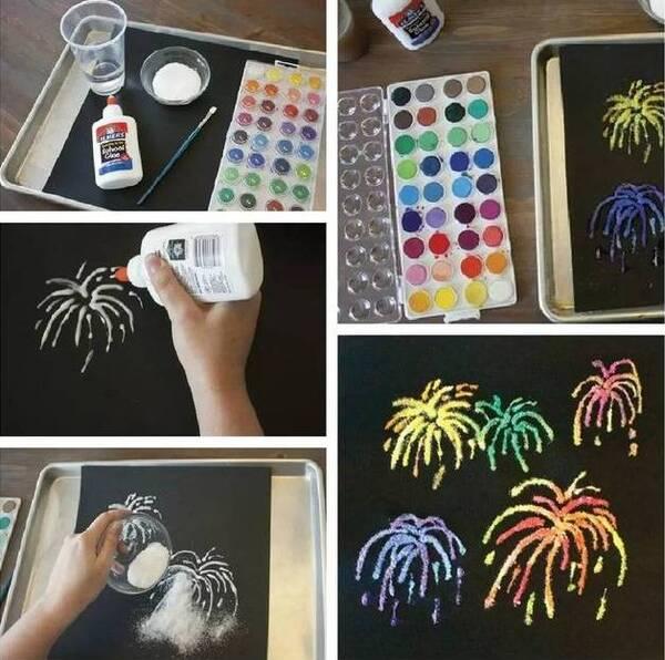 准备材料:若干扭扭棒,画纸,颜料 制作步骤:用扭扭棒上色后直接在画纸