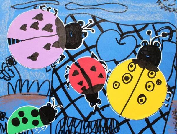 少儿创意美术《七星瓢虫》,好多可爱的小瓢虫啊!