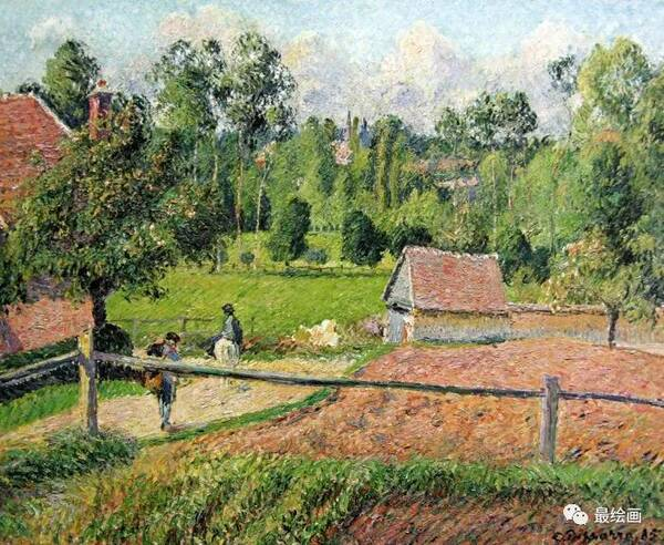 毕沙罗喜好写生,画了相当多的风景画,他的后期作品是印象派中点彩