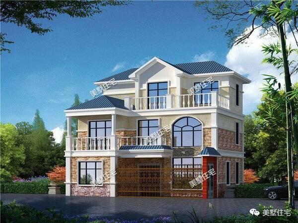 欧式风格别墅,文化石配淡黄加白色外墙,蓝色坡屋顶,清新雅致.